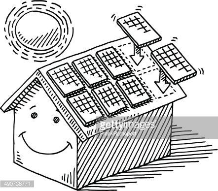 Panel Solar Casa Techo Energía Sol Dibujo premium clipart