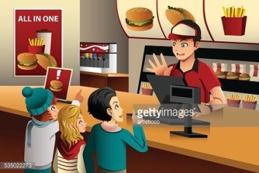 Kids ordering food at a restaurant Clipart Image