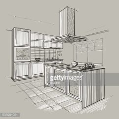 Islands For The Kitchen Sink And Cabinet Combo 现代厨房与岛屿的内部剪影 Premium Clipart Clipartlogo Com