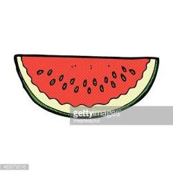 comic cartoon watermelon slice Clipart Image