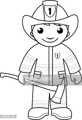 Firefighter Coloring Page For Kids Clipart Image