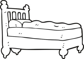 black and white cartoon bed Clipart Image