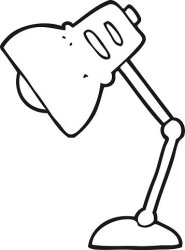 black and white cartoon lamp Clipart Image