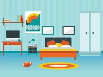 Modern bedroom interior vector Clipart Image