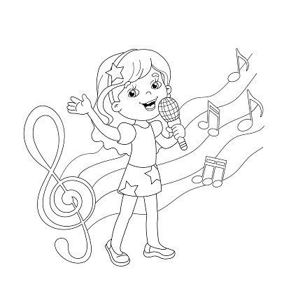 Coloring Page Outline of Cartoon Girl Singing A Song