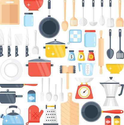 kitchen design tools bench cushions 矢量厨房工具集 厨具集合 平面设计矢量图premium clipart 平面设计矢量图