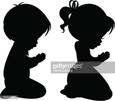 children praying silhouettes premium