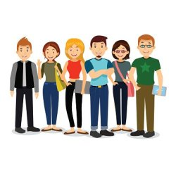 Set of diverse college or university students Clipart Image