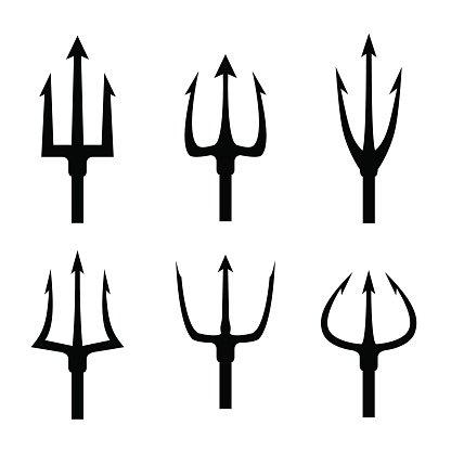 Black Trident Silhouette Vector Set premium clipart