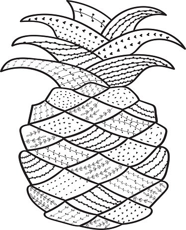Pineapple Whimsical Line Coloring Book for Adult premium