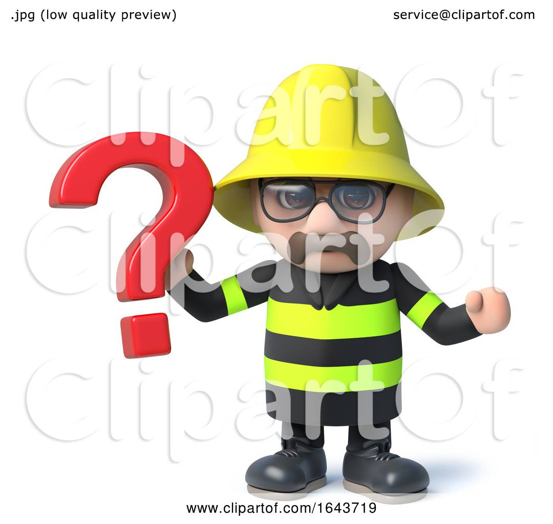 3d funny cartoon fireman