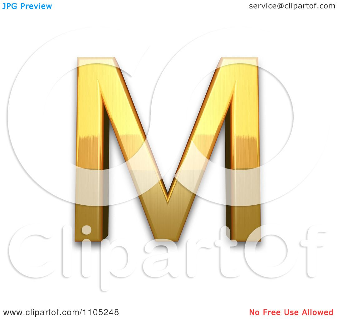 hight resolution of 3d gold capital letter m clipart royalty free vector illustration by leo blanchette