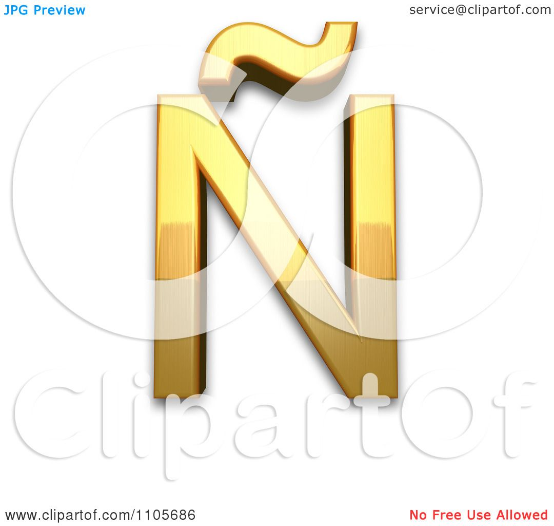 hight resolution of 3d gold capital letter n with tilde clipart royalty free cgi illustration by leo blanchette