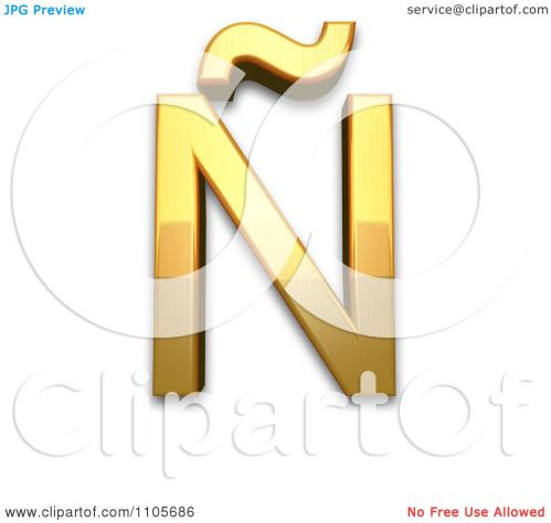 small resolution of 3d gold capital letter n with tilde clipart royalty free cgi illustration by leo blanchette