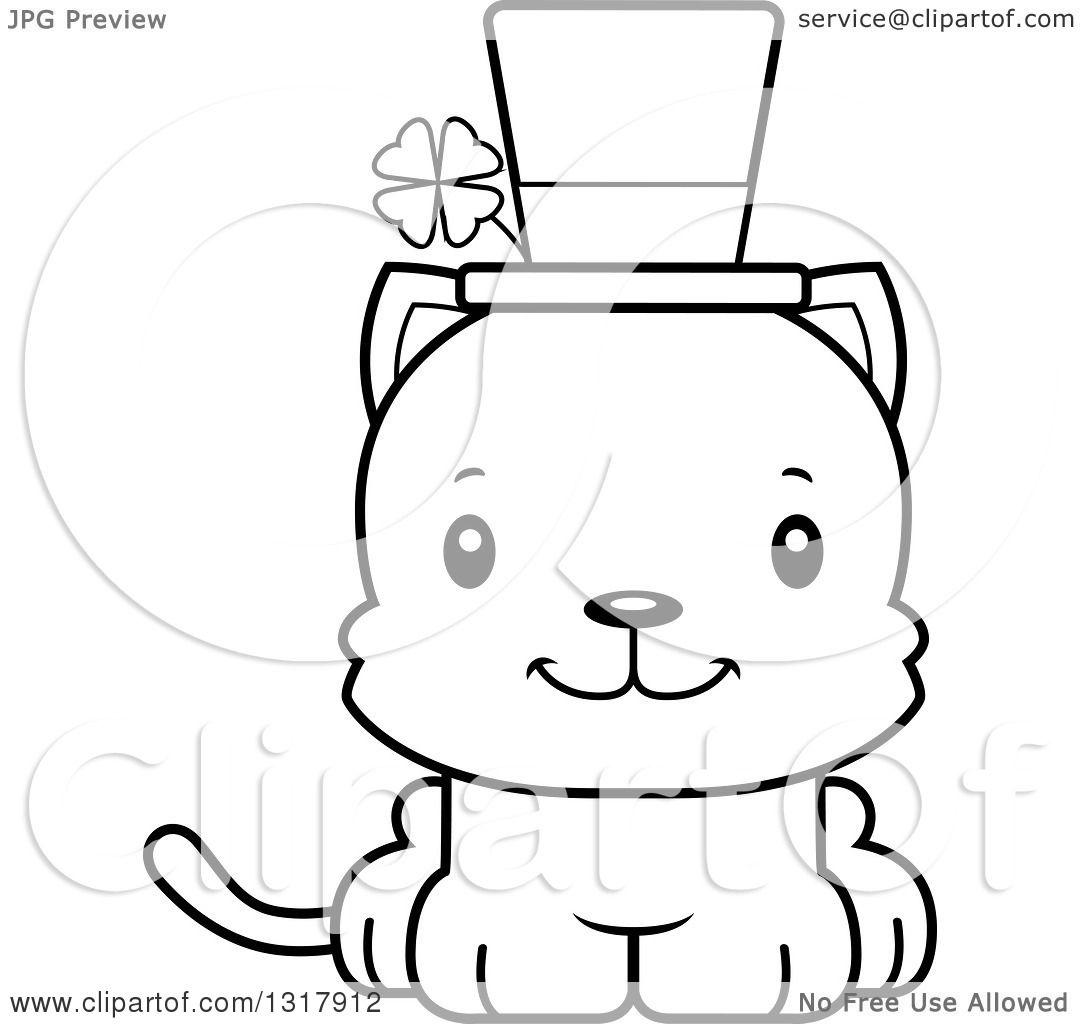 Animal Lineart Clipart Of A Cartoon Black And White Cute Happy Irish St Patricks Day Kitten Cat