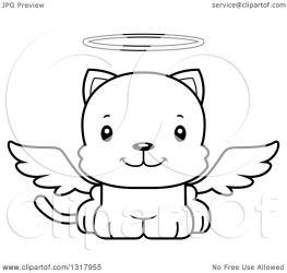 cat cute cartoon animal angel kitten happy clipart illustration outline royalty vector lineart cory thoman