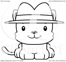 cat cartoon cute happy detective kitten outline clipart illustration lineart animal royalty vector thoman cory