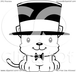 cat cute hat cartoon clipart kitten wearing mad outline animal illustration happy gentleman vector lineart royalty thoman cory