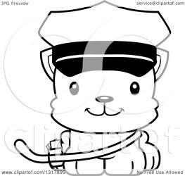 cat cute mailman cartoon kitten happy clipart animal illustration outline vector lineart thoman cory royalty