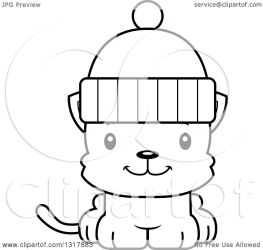 cat hat cartoon cute winter kitten clipart outline wearing illustration clip animal vector mad lineart happy royalty cory thoman 1080