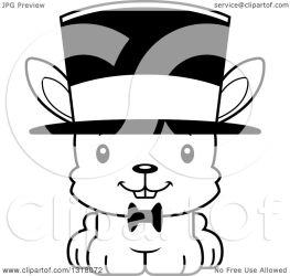 rabbit cartoon gentleman wearing clipart mad hat cory thoman animal outline happy royalty lineart vector