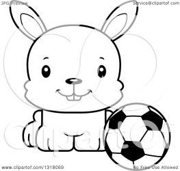 animal clipart cartoon sitting rabbit happy soccer lineart outline ball thoman cory vector