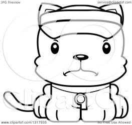 cat cartoon mad cute clipart kitten lifeguard illustration animal royalty thoman cory lineart outline vector