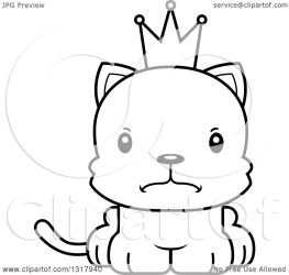 cat cartoon kitten mad prince clipart outline animal cory thoman vector lineart royalty
