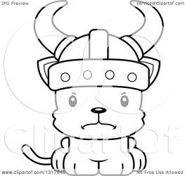 cute cat viking cartoon animal kitten illustration mad clipart outline lineart royalty vector cory thoman