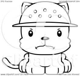 cat zookeeper cartoon kitten mad animal clipart outline lineart vector thoman cory