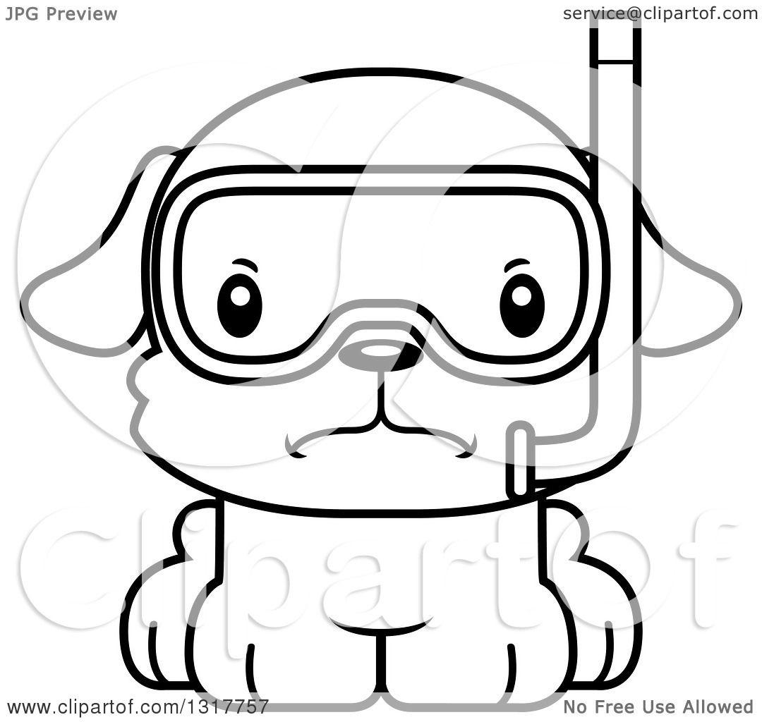 Animal Lineart Clipart Of A Cartoon Black And Whitecute