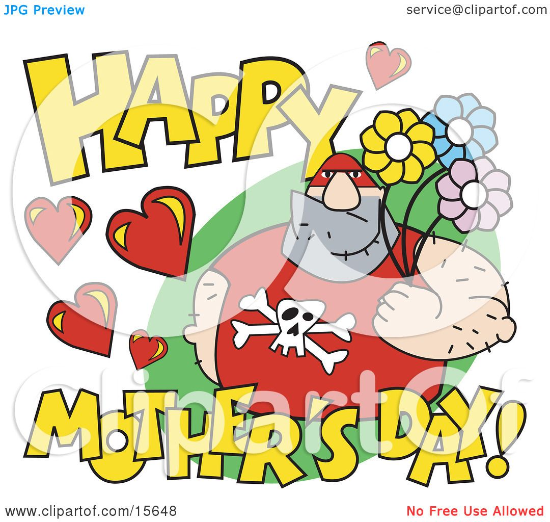 hight resolution of big male pro wrestler holding flowers with happy mother s day text clipart illustration by andy nortnik