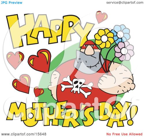 small resolution of big male pro wrestler holding flowers with happy mother s day text clipart illustration by andy nortnik