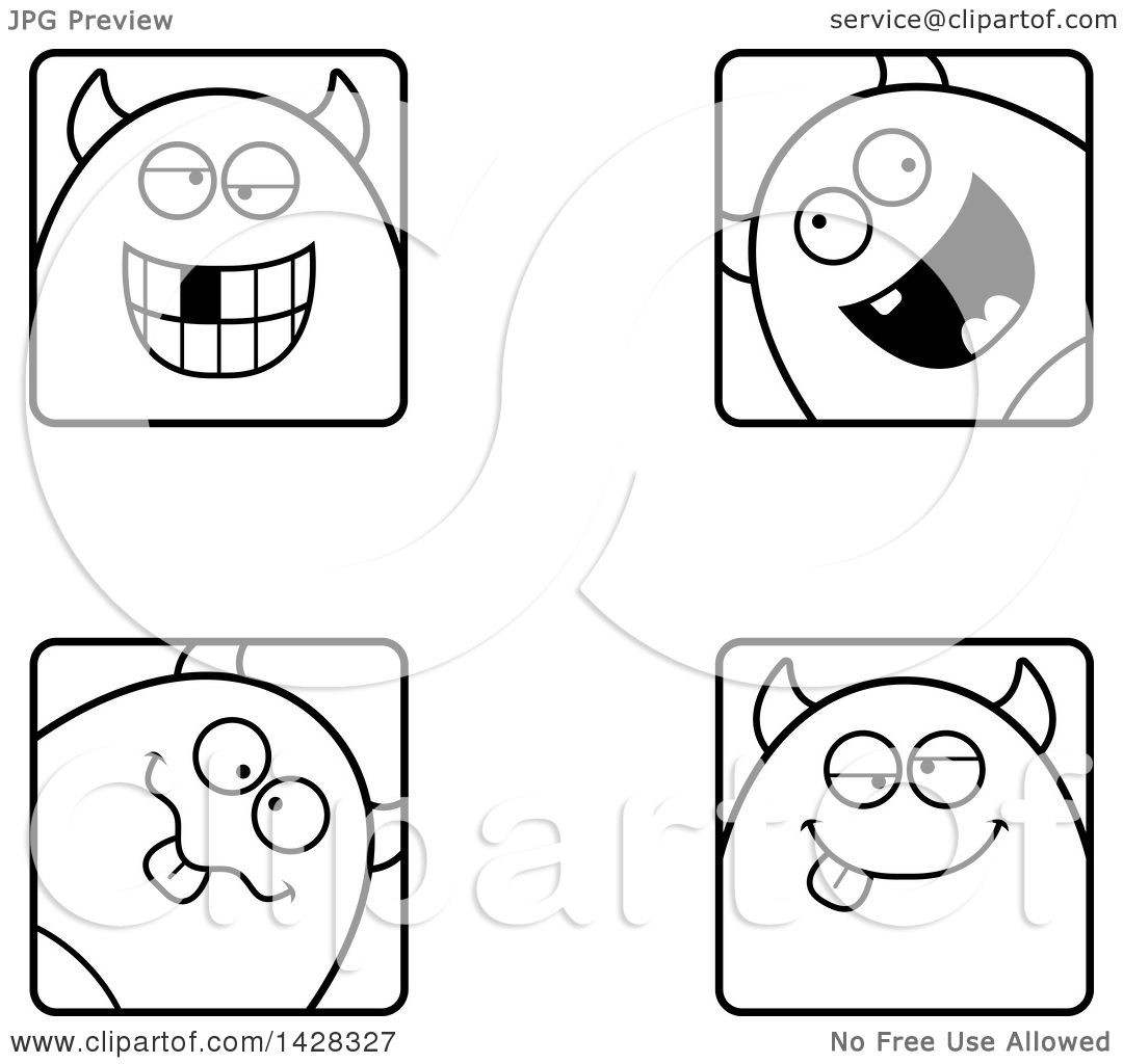 Black And White Lineart Clipart Of Goofy Devil Faces