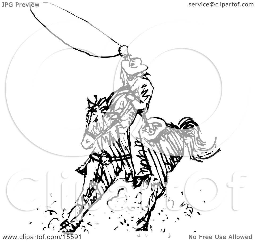 Black And White Outline Of A Cowboy Swirling A Lasso While