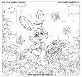sunny rabbit easter basket bannykh alex clipart