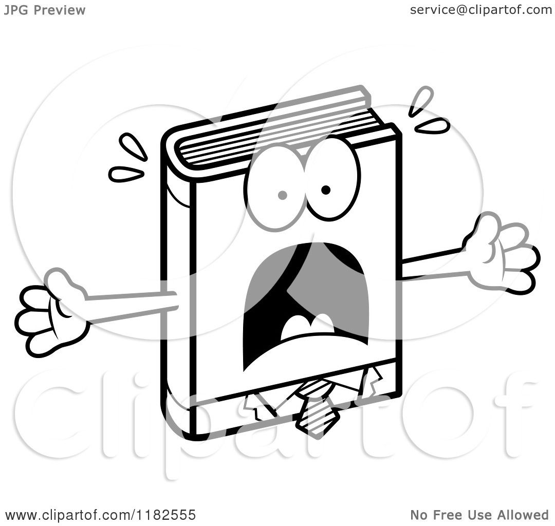 Black And White Scared Business Book Mascot