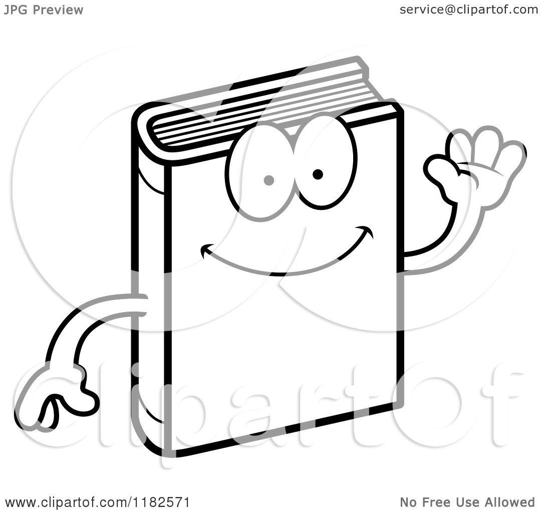 Black And White Waving Book Mascot