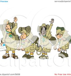 boy scout troops and scout leader waving goodbye before backpacking clipart illustration [ 1080 x 1024 Pixel ]