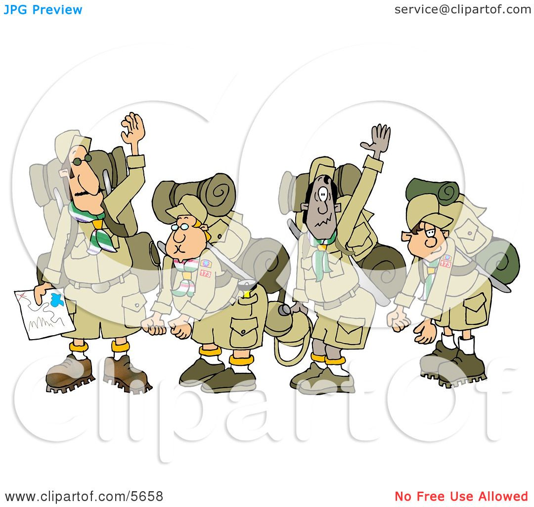 hight resolution of boy scout troops and scout leader waving goodbye before backpacking clipart illustration