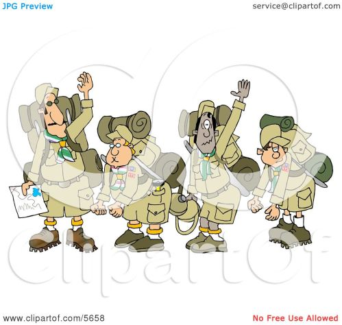 small resolution of boy scout troops and scout leader waving goodbye before backpacking clipart illustration