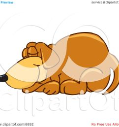 brown dog mascot cartoon character curled up and sleeping clipart picture by toons4biz [ 1080 x 1024 Pixel ]