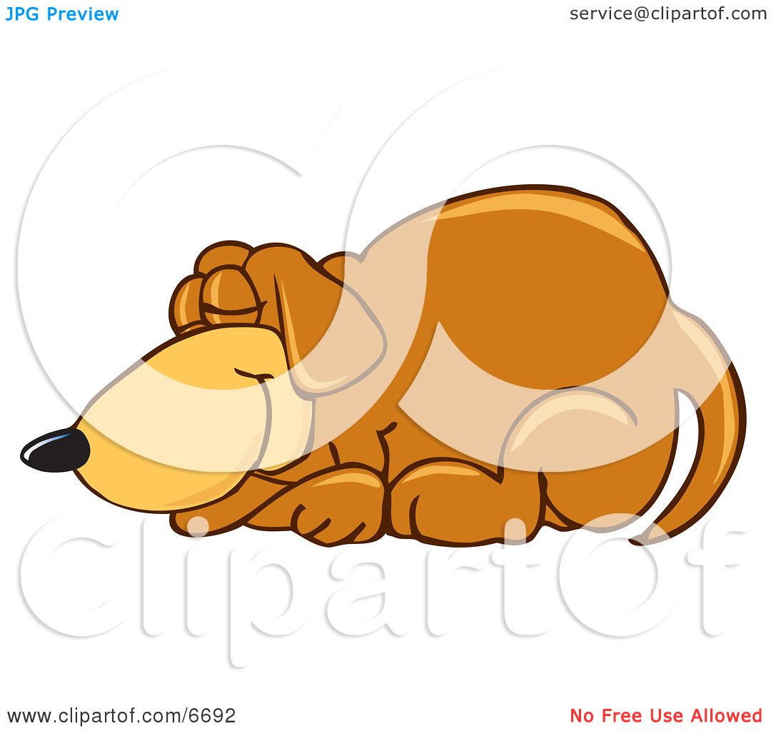hight resolution of brown dog mascot cartoon character curled up and sleeping clipart picture by toons4biz