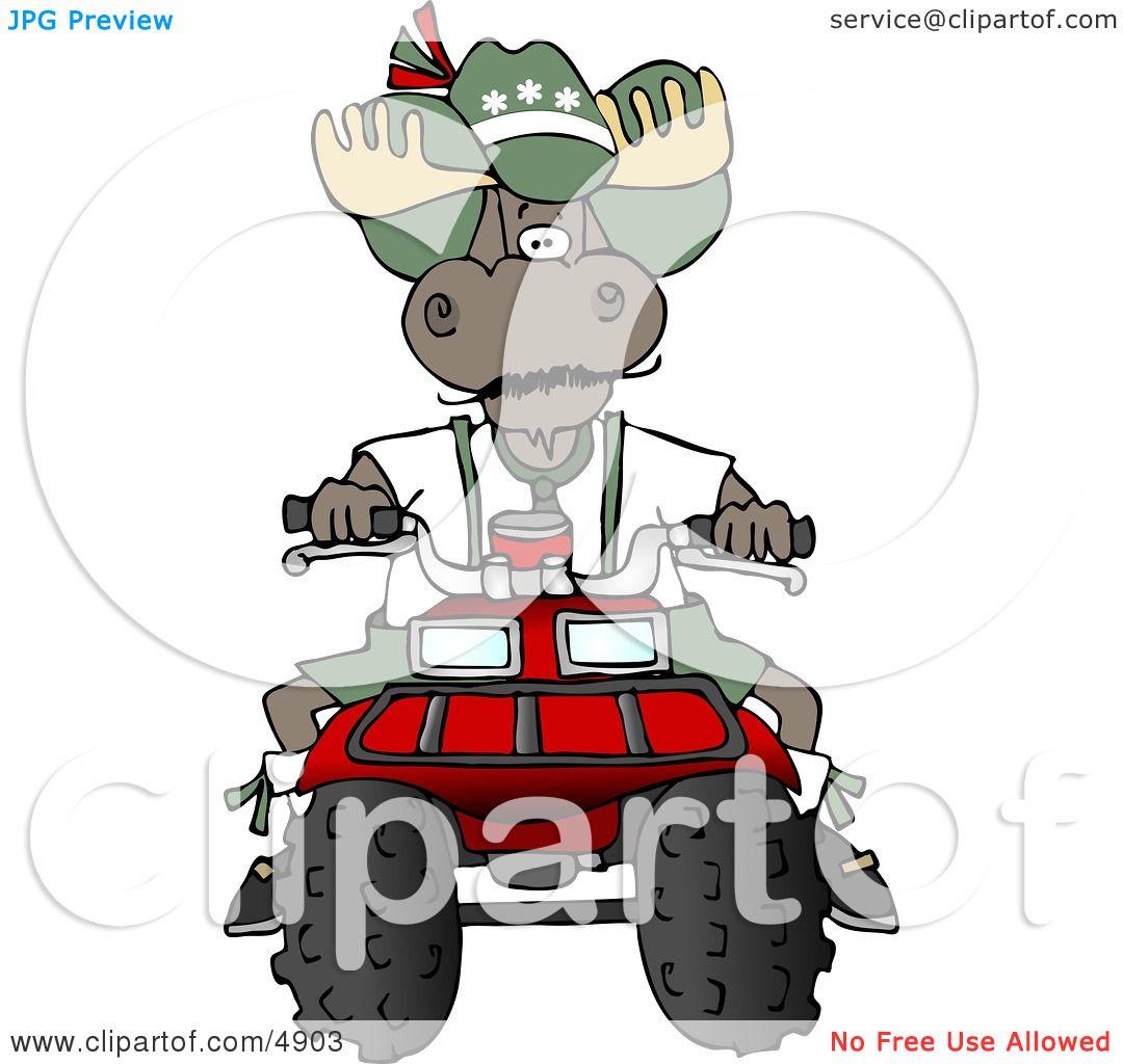 hight resolution of bull moose riding a recreational atv four wheeler clipart by djart