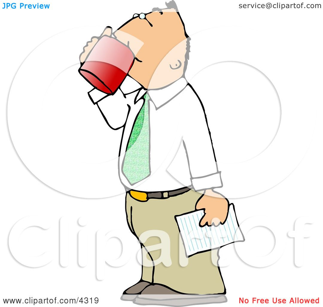 hight resolution of businessman holding a letter and drinking a cup of coffee clipart by djart