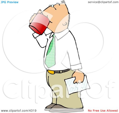 small resolution of businessman holding a letter and drinking a cup of coffee clipart by djart