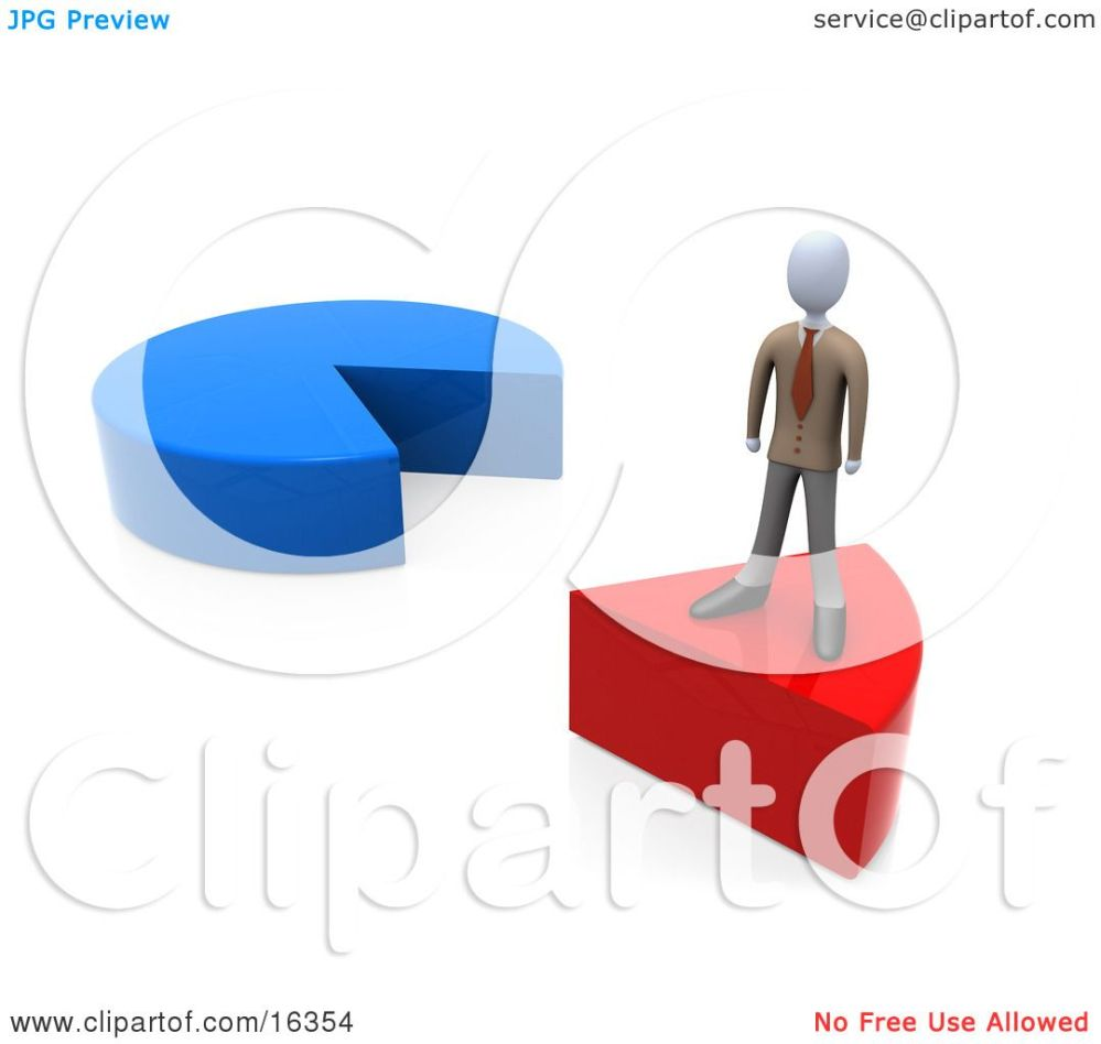medium resolution of businessman standing on a red slice of a pie chart clipart illustration graphic by 3pod