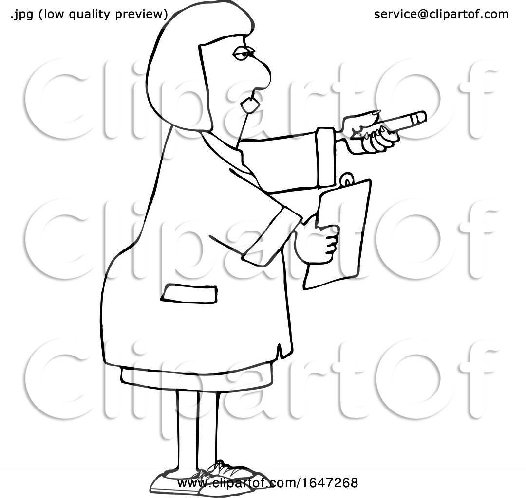 Cartoon Black And White Female Scientist Holding Out A