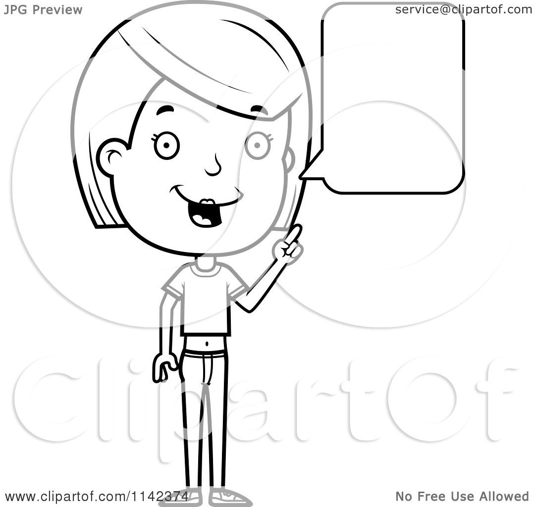 Cartoon Clipart Of A Black And White Adolescent Teenage