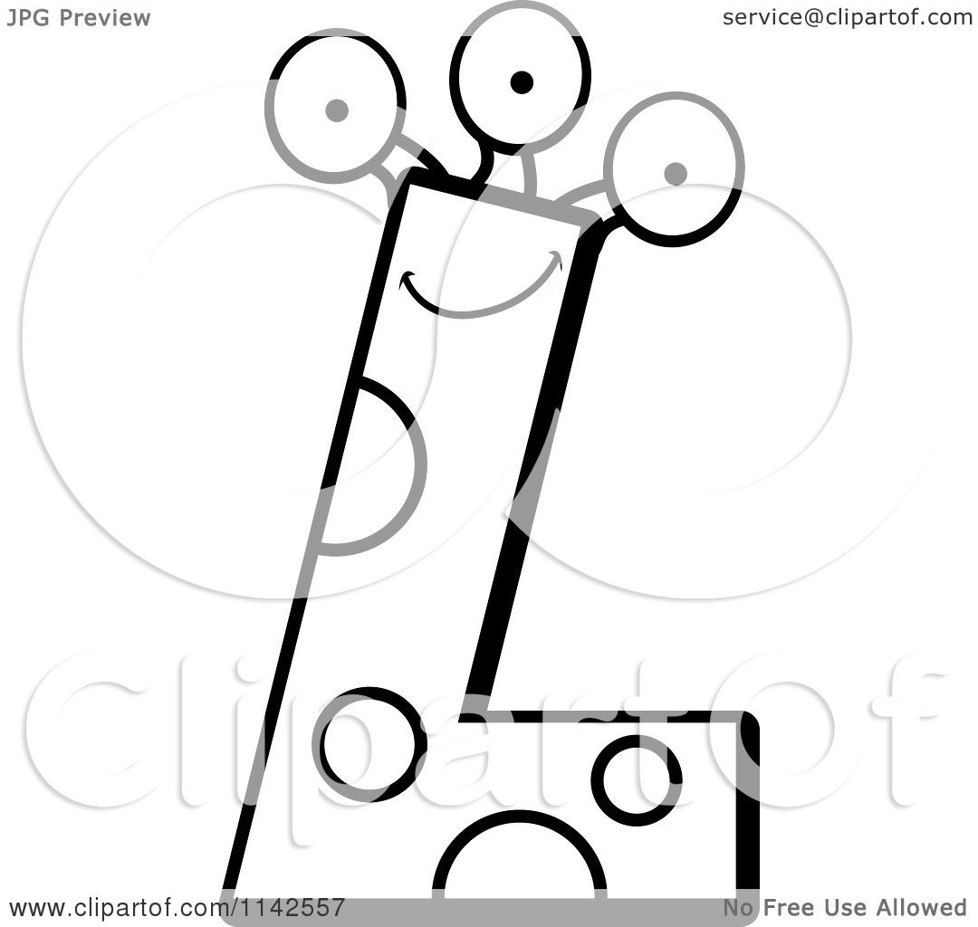 Cartoon Clipart Of A Black And White Alien Letter L